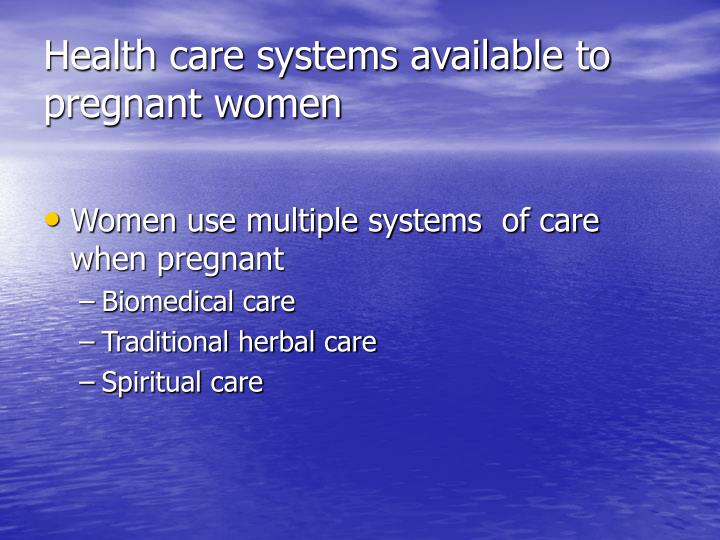 Health care systems available to pregnant women