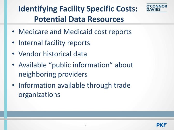 Identifying Facility Specific Costs: