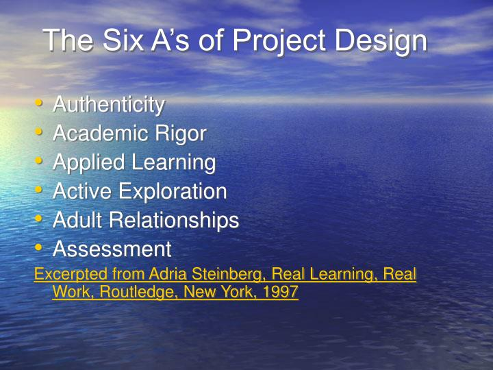 The Six A's of Project Design