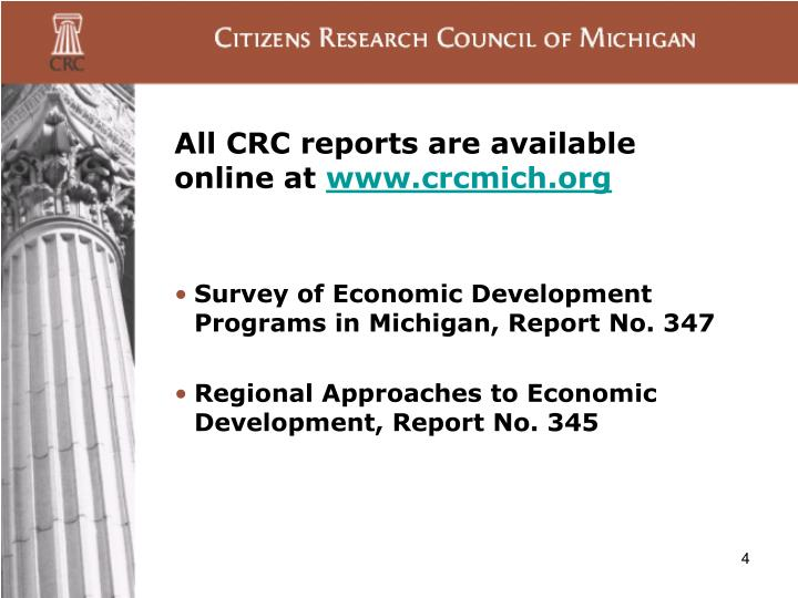 All CRC reports are available online at