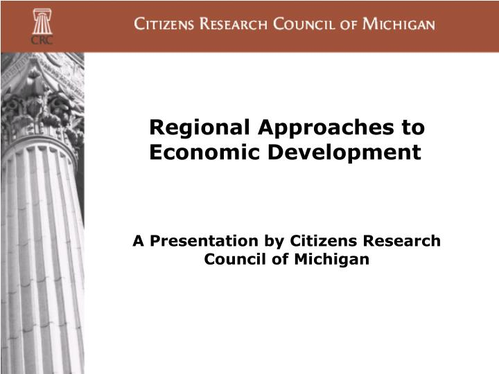 Regional approaches to economic development