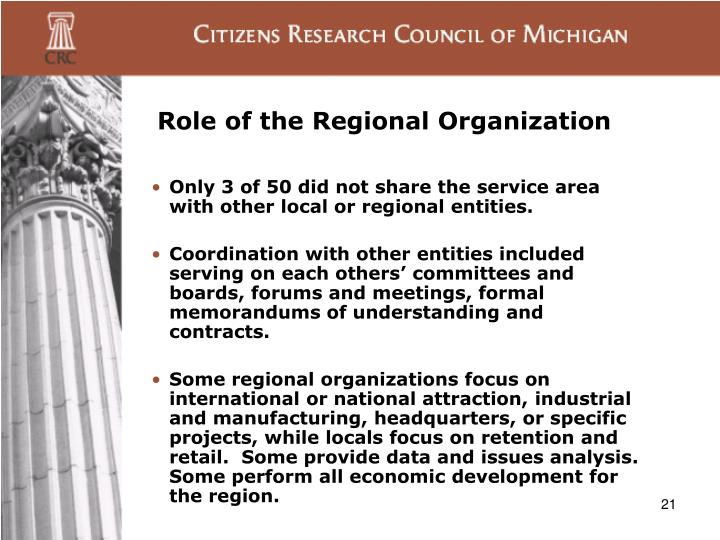 Role of the Regional Organization