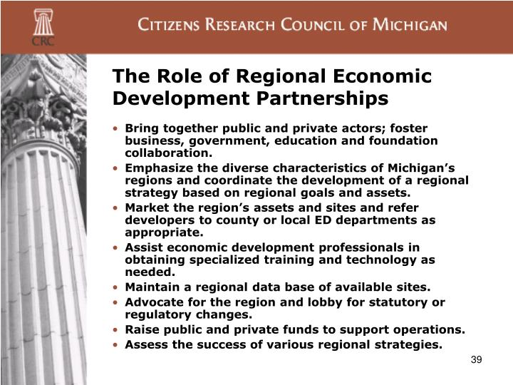The Role of Regional Economic Development Partnerships