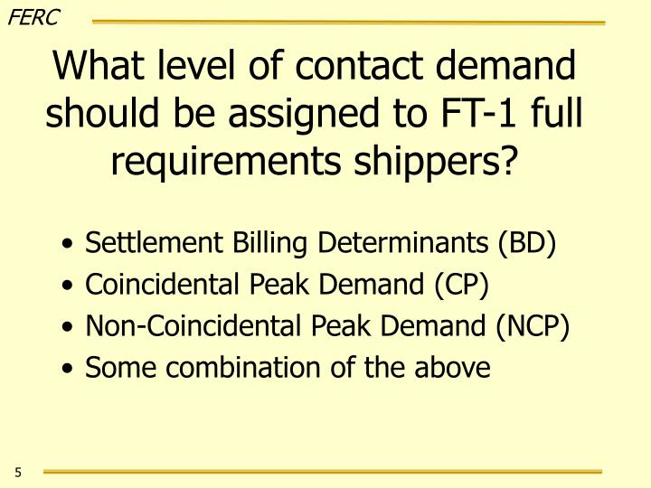 What level of contact demand should be assigned to FT-1 full requirements shippers?