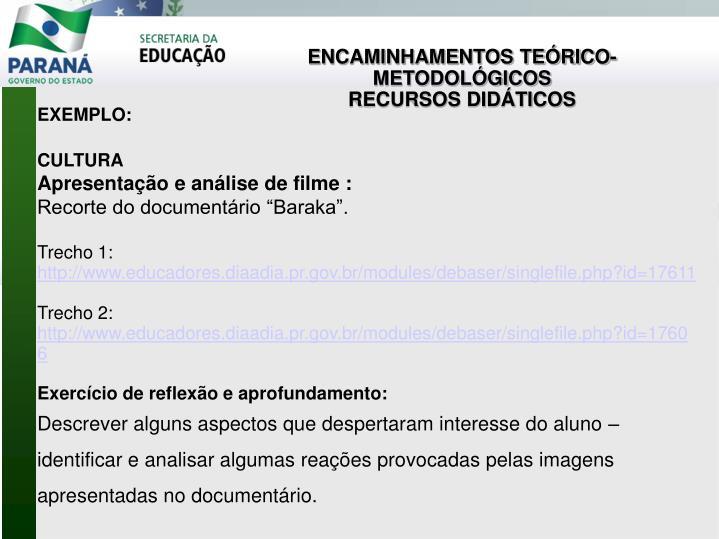 ENCAMINHAMENTOS TEÓRICO- METODOLÓGICOS