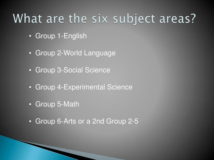 What are the six subject areas?