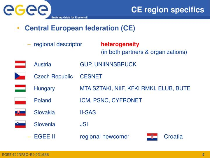 CE region specifics