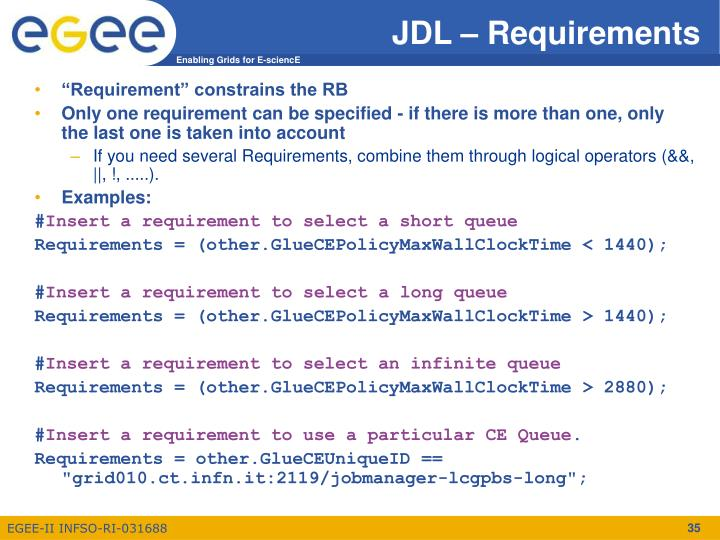 JDL – Requirements