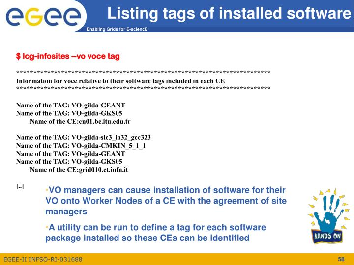 Listing tags of installed software