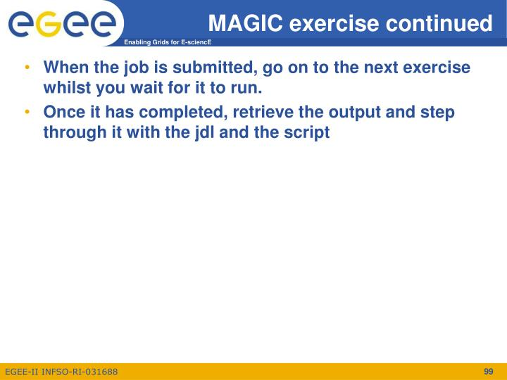 MAGIC exercise continued
