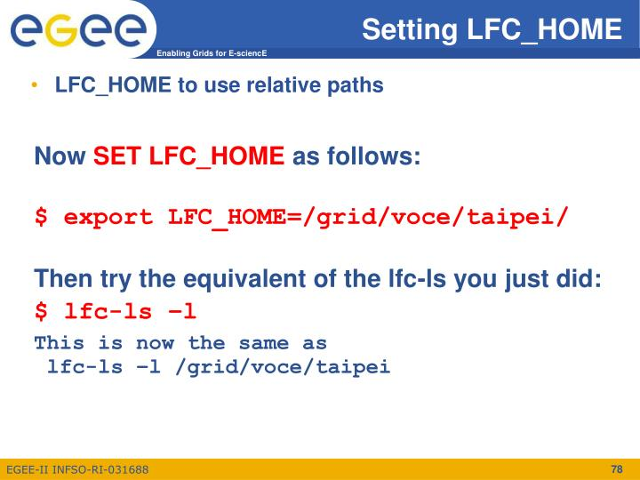 Setting LFC_HOME