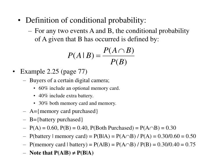 Definition of conditional probability: