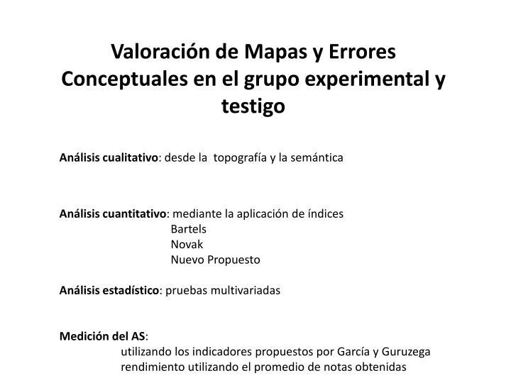 Valoración de Mapas y Errores  Conceptuales en el grupo experimental y testigo