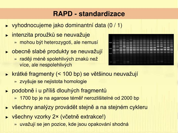RAPD - standardizace