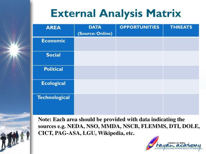 External Analysis Matrix