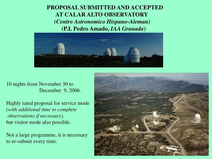 PROPOSAL SUBMITTED AND ACCEPTED