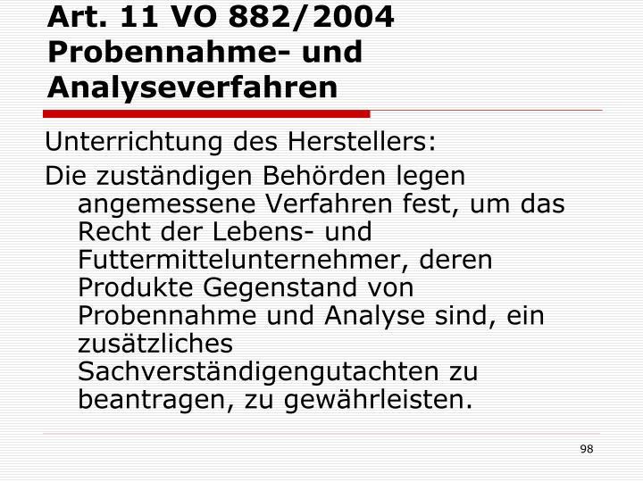 Art. 11 VO 882/2004 Probennahme- und Analyseverfahren