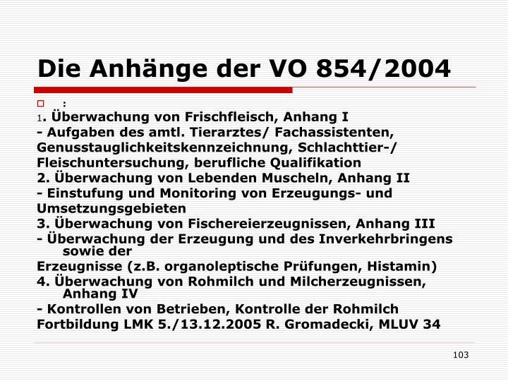 Die Anhänge der VO 854/2004