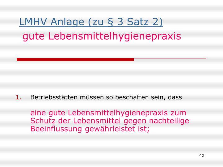 LMHV Anlage (zu § 3 Satz 2)