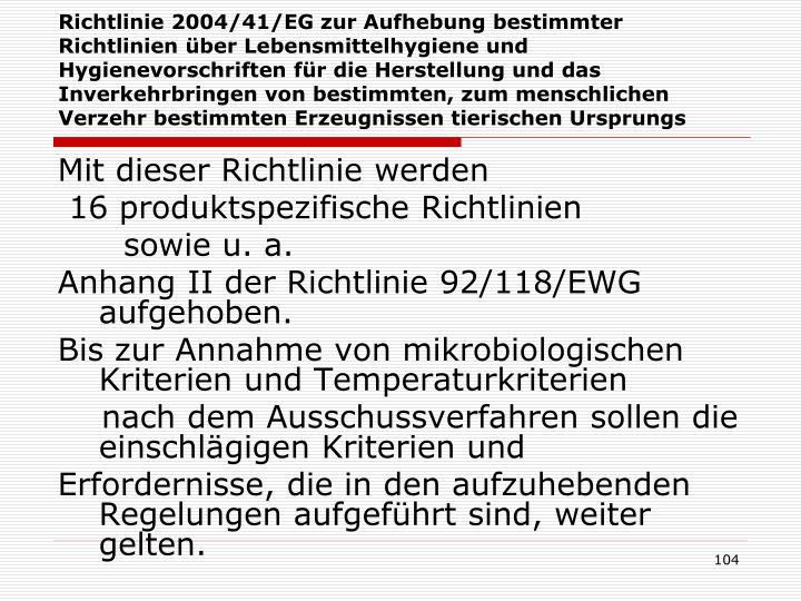 Richtlinie 2004/41/EG zur Aufhebung bestimmter