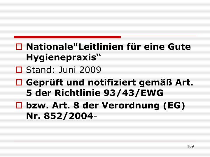 """Nationale""""Leitlinien für eine Gute Hygienepraxis"""""""