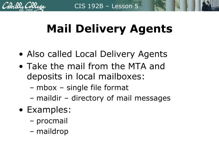 Mail Delivery Agents