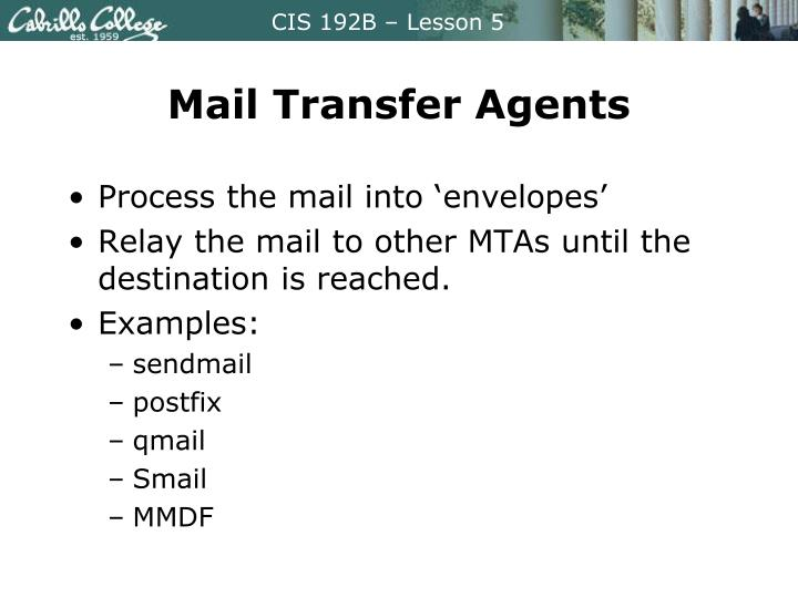 Mail Transfer Agents