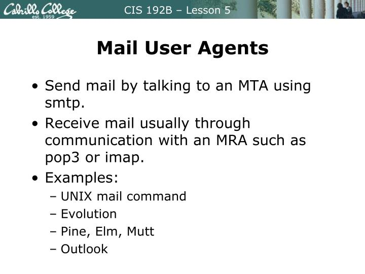 Mail User Agents