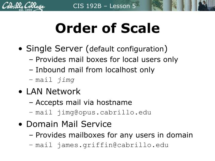 Order of Scale