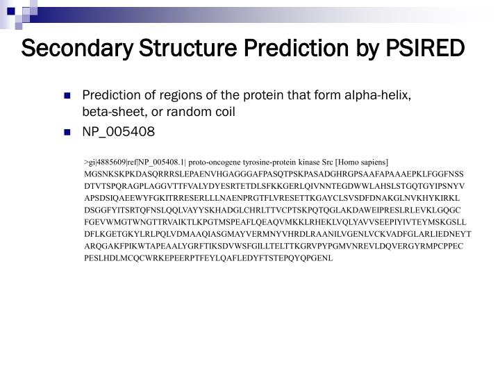 Secondary Structure Prediction by PSIRED
