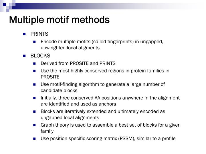 Multiple motif methods