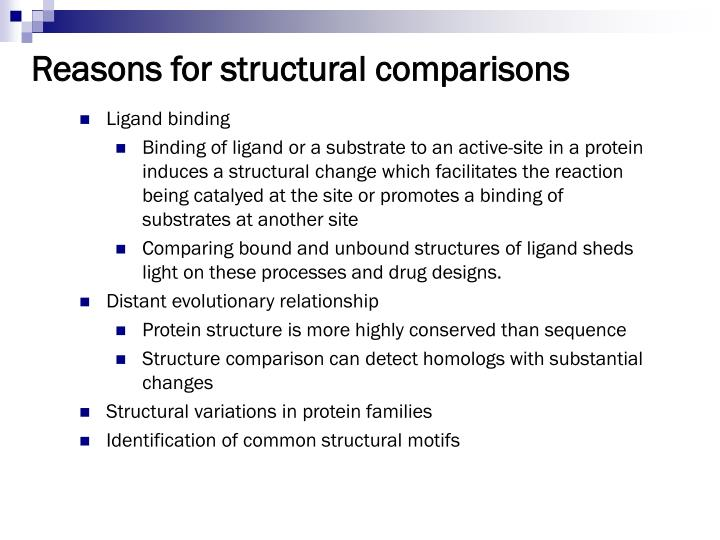 Reasons for structural comparisons