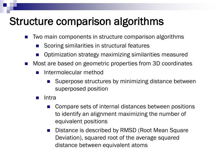 Structure comparison algorithms