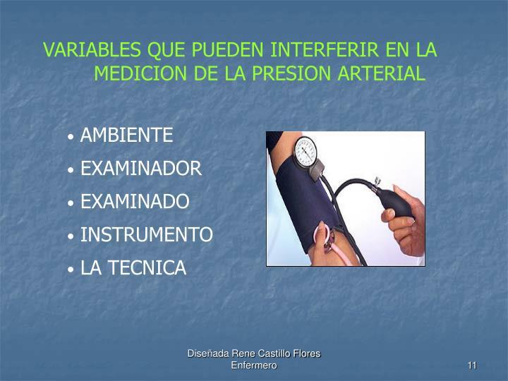 VARIABLES QUE PUEDEN INTERFERIR EN LA MEDICION DE LA PRESION ARTERIAL