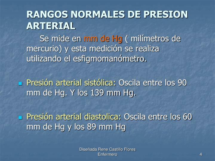 RANGOS NORMALES DE PRESION ARTERIAL