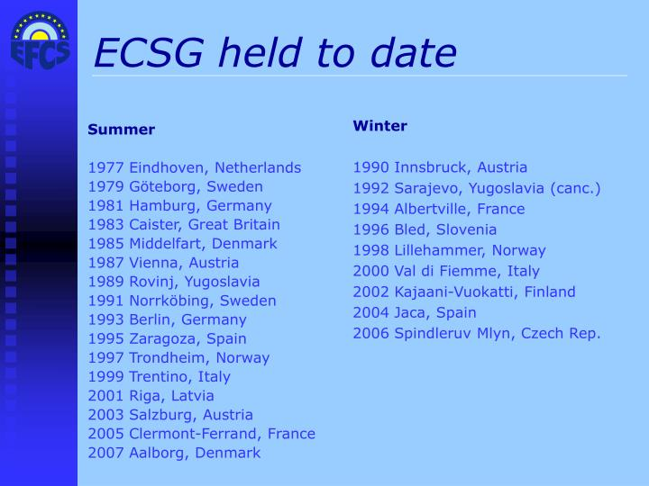 ECSG held to date