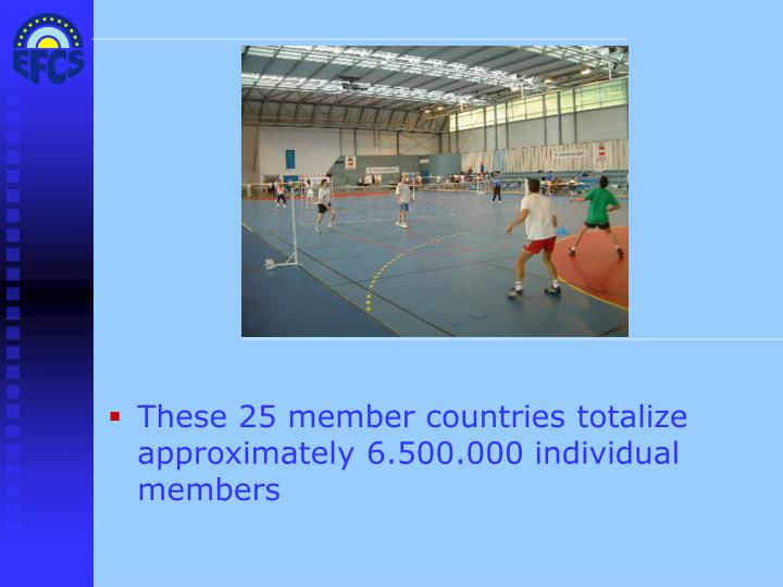 These 25 member countries totalize approximately 6.500.000 individual members