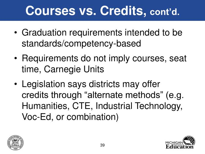 Courses vs. Credits,