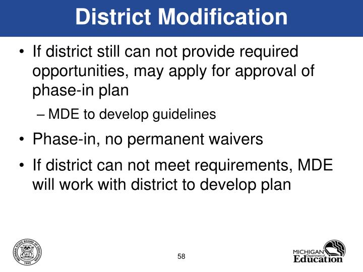 District Modification