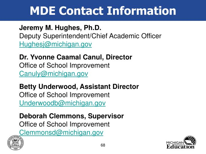 MDE Contact Information