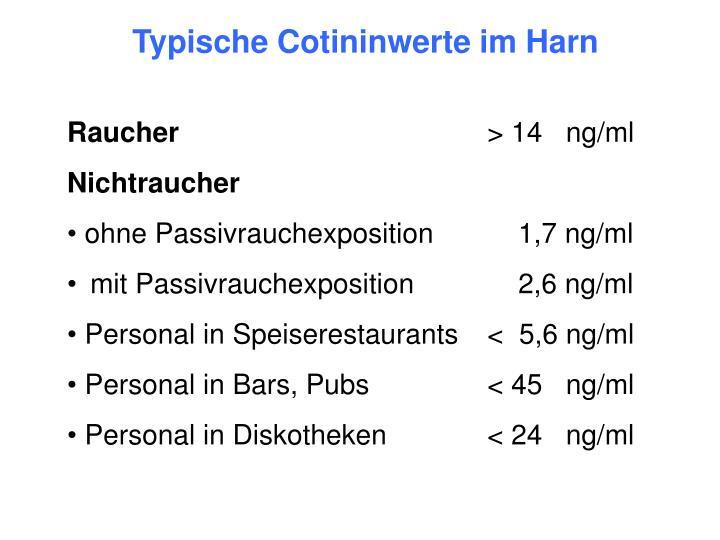 Typische Cotininwerte im Harn