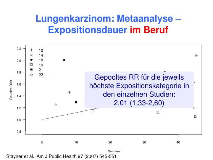 Lungenkarzinom: Metaanalyse – Expositionsdauer