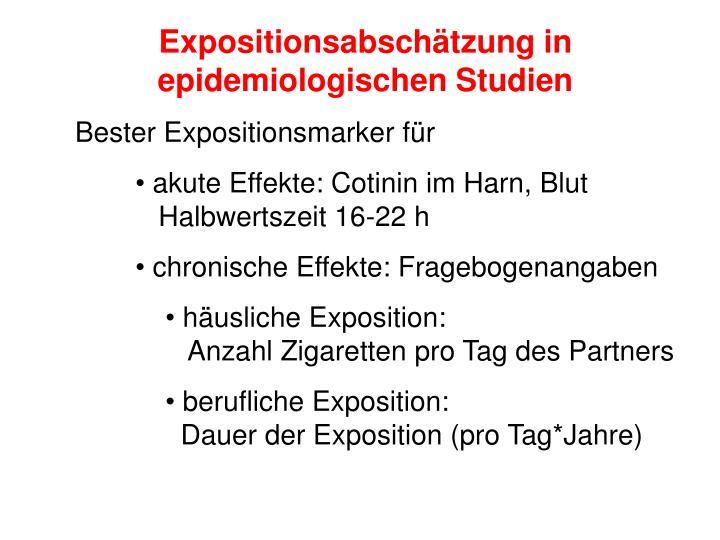 Expositionsabschätzung in epidemiologischen Studien