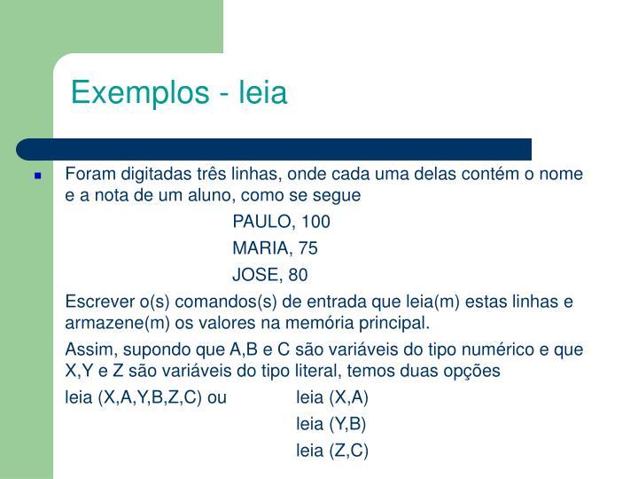 Exemplos - leia