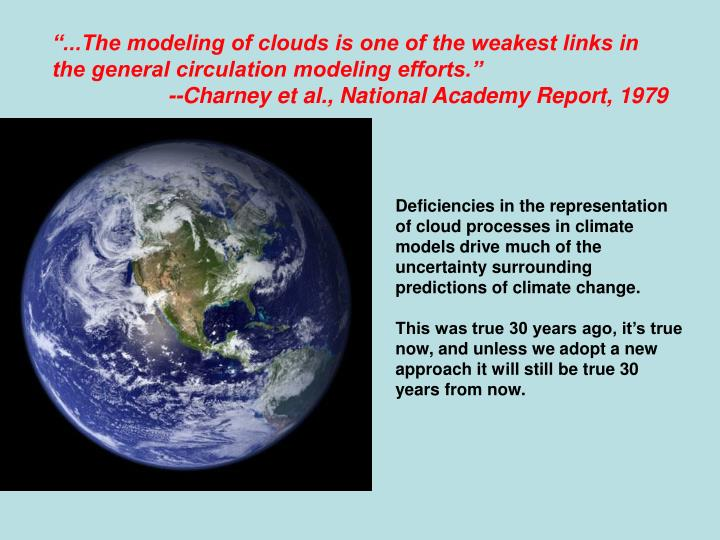 """...The modeling of clouds is one of the weakest links in the general circulation modeling efforts."""