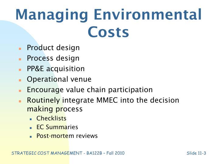Managing Environmental Costs
