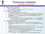 pulmonary embolism anesthetic considerations