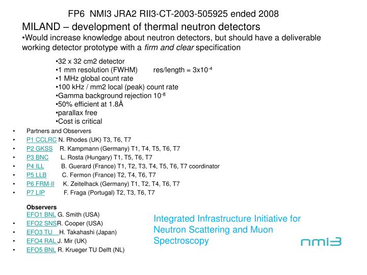 FP6  NMI3 JRA2 RII3-CT-2003-505925 ended 2008