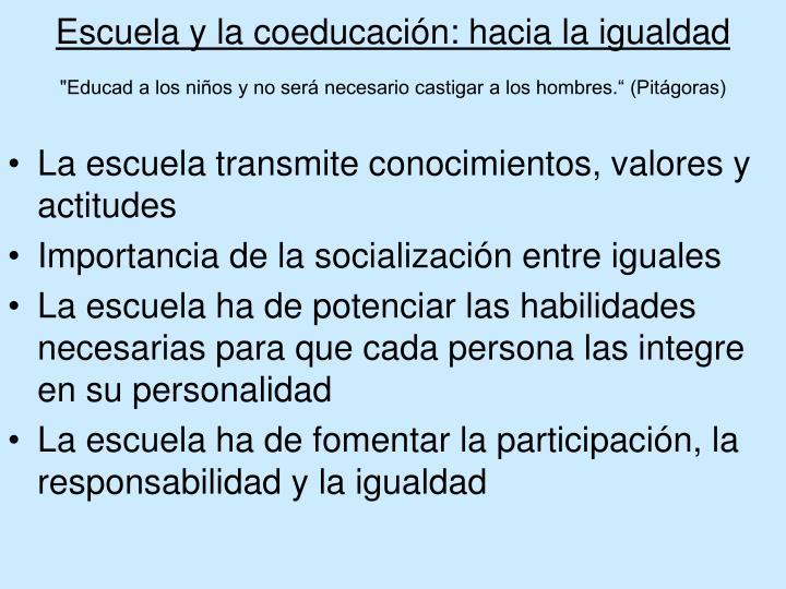Escuela y la coeducación: hacia la igualdad