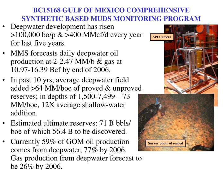BC15168 GULF OF MEXICO COMPREHENSIVE SYNTHETIC BASED MUDS MONITORING PROGRAM